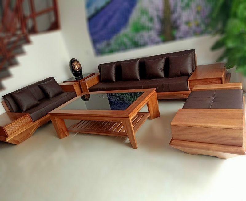 Bộ ghế Sofa gỗ gõ đỏ hiện đại - 08
