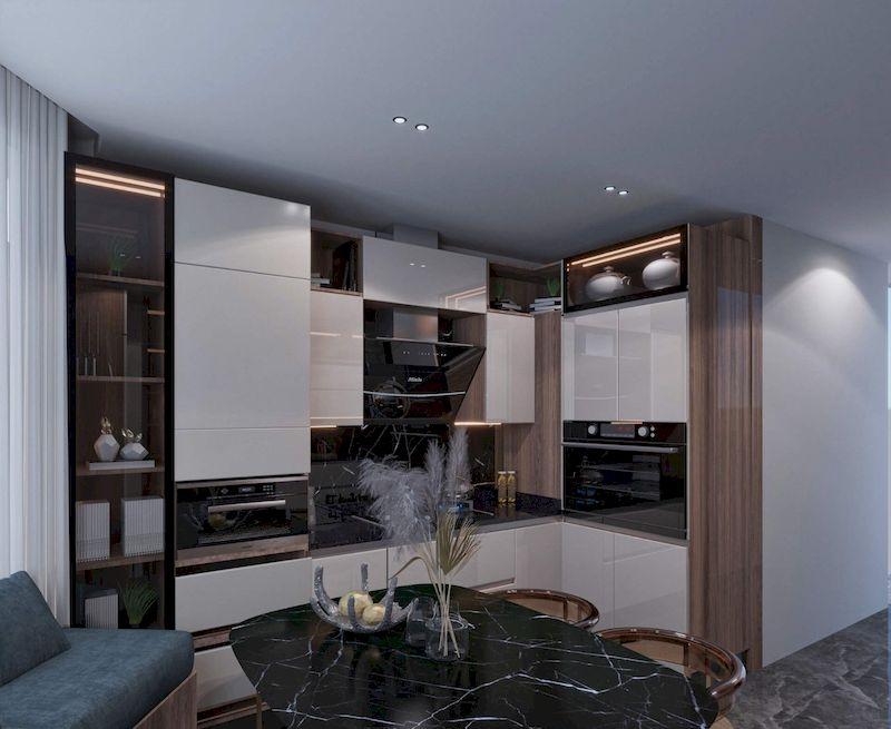 Tủ bếp cánh kính - Mẫu 12