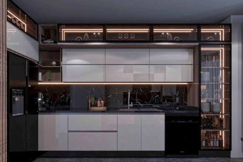 Tủ bếp cánh kính - Mẫu 13