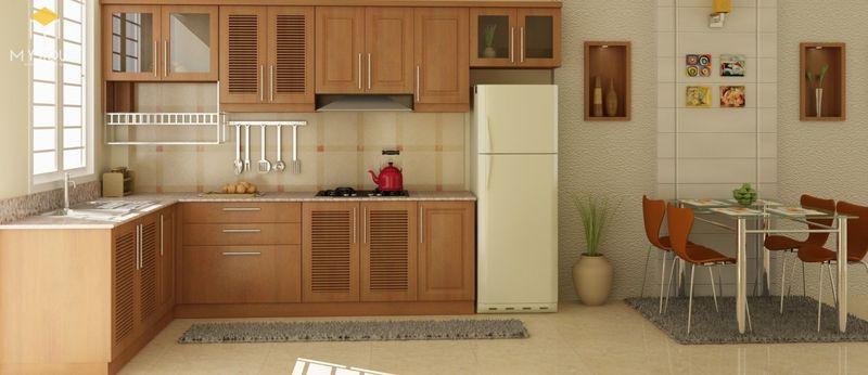 Mẫu tủ bếp gỗ sồi nga hiện đại - Mẫu 04