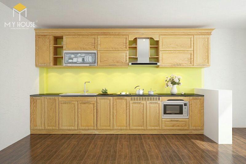 Mẫu tủ bếp gỗ sồi nga hiện đại - Mẫu 11