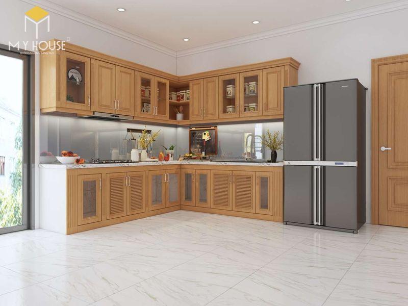 Mẫu tủ bếp gỗ sồi nga hiện đại - Mẫu 14