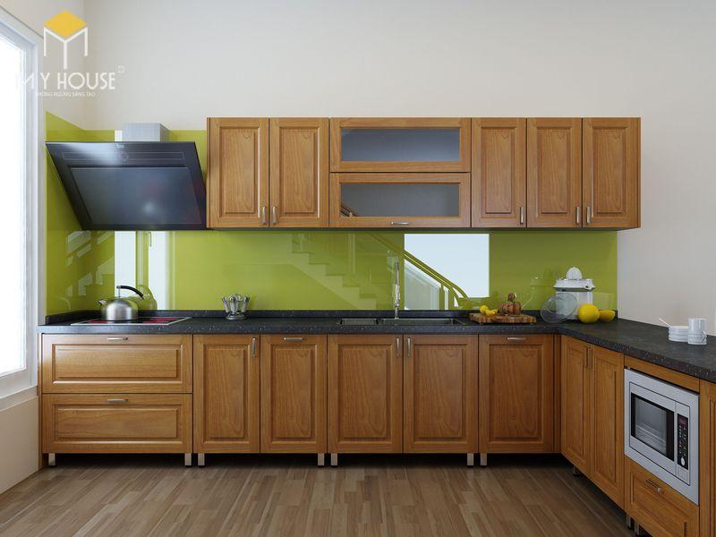 Mẫu tủ bếp gỗ sồi nga hiện đại - Mẫu 16