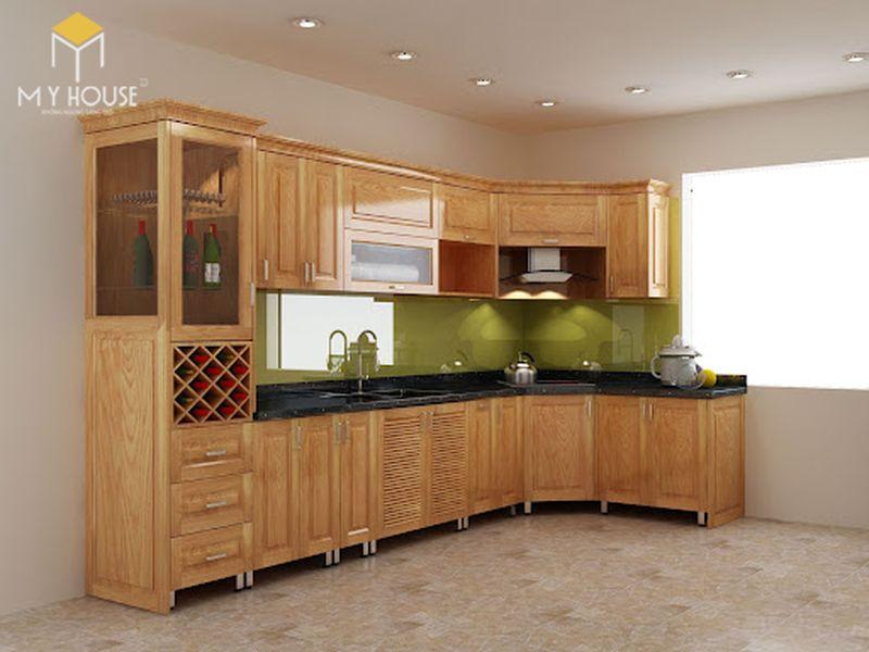 Tủ bếp gỗ sồi Nga có độ cứng cao và độ bền từ 10 năm - 20 năm