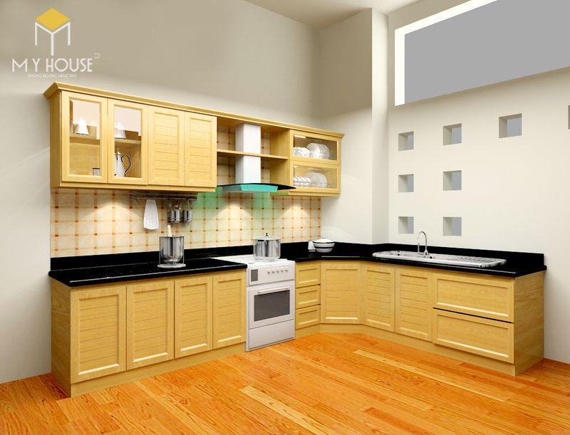 Tủ bếp gỗ sồi Nga có giá thành rẻ trong tủ bếp gỗ tự nhiên