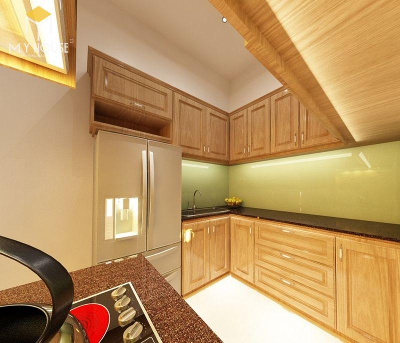 Tủ bếp gỗ sồi Nga có độ bền cực cao