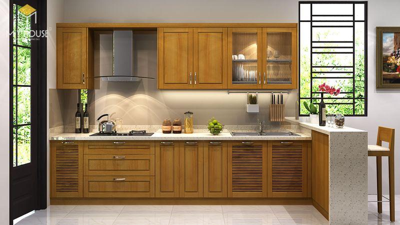 Mẫu tủ bếp gỗ sồi nga hiện đại - Mẫu 03