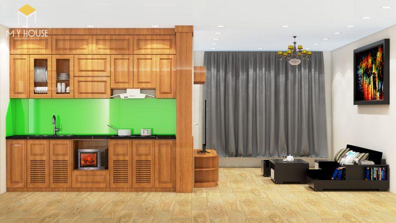 Mẫu tủ bếp gỗ sồi nga hiện đại - Mẫu 06