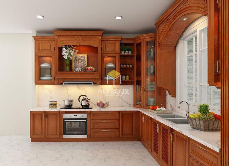 Tủ bếp gỗ tự nhiên loại nào tốt - Mẫu tủ bếp 12