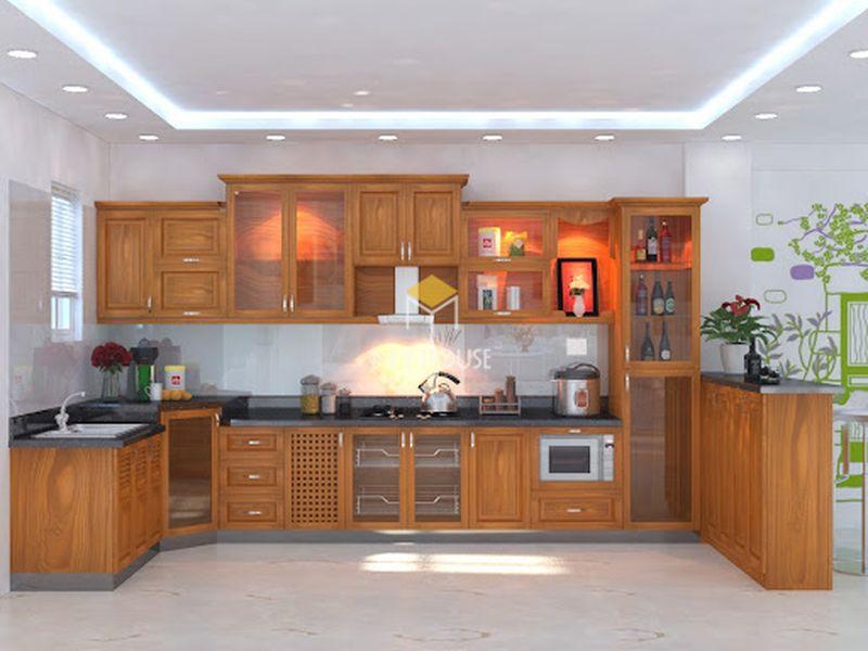 Tủ bếp gỗ tự nhiên loại nào tốt - Mẫu tủ bếp 13