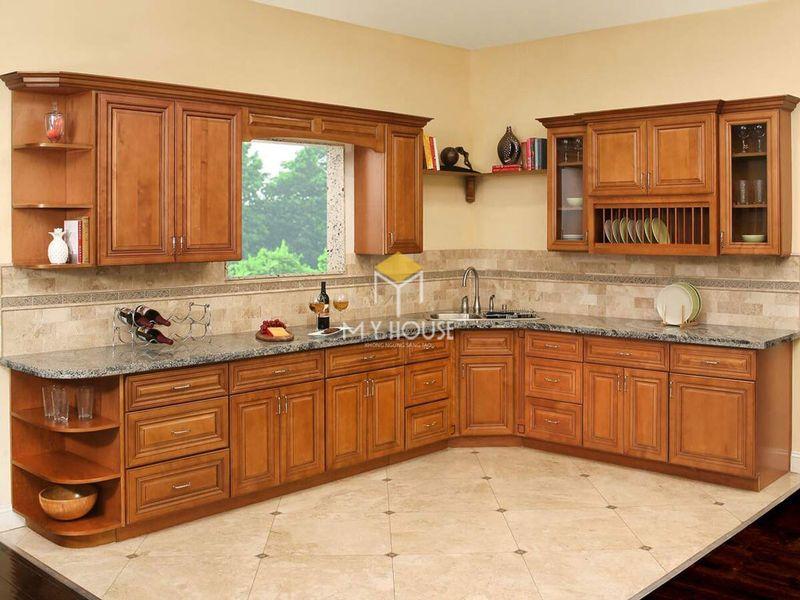 Tủ bếp gỗ tự nhiên loại nào tốt - Mẫu tủ bếp 04