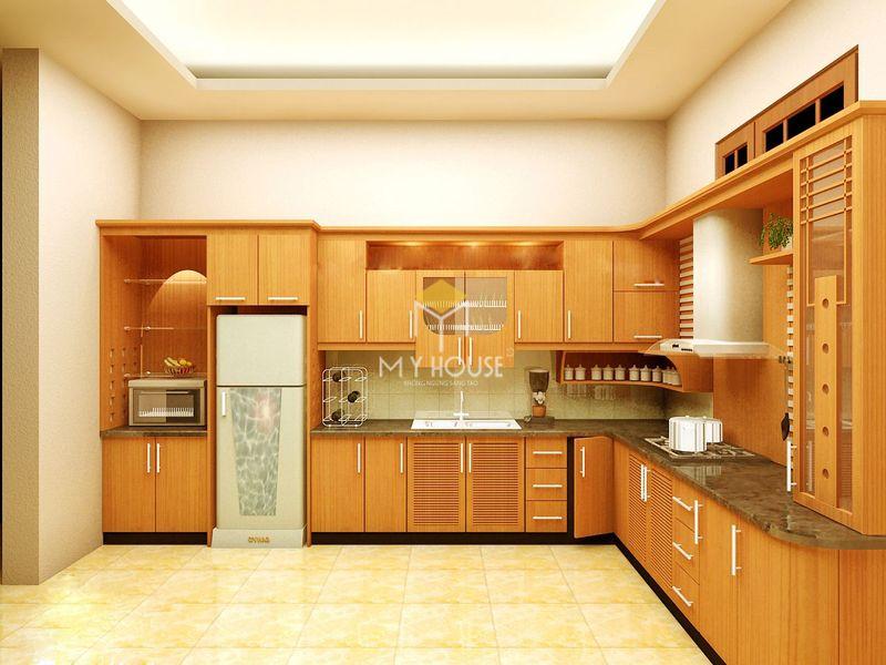 Tủ bếp gỗ tự nhiên loại nào tốt - Mẫu tủ bếp 15