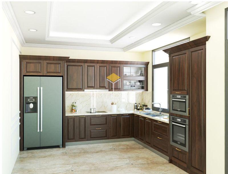 Tủ bếp gỗ tự nhiên loại nào tốt - Mẫu tủ bếp 17