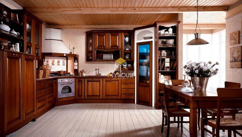Tủ bếp gỗ tự nhiên loại nào tốt - Mẫu tủ bếp 02