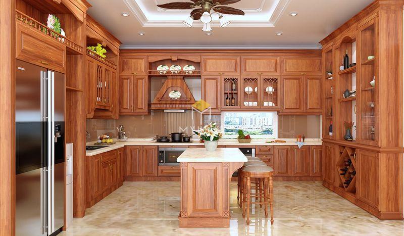 Tủ bếp gỗ tự nhiên loại nào tốt - Mẫu tủ bếp 01