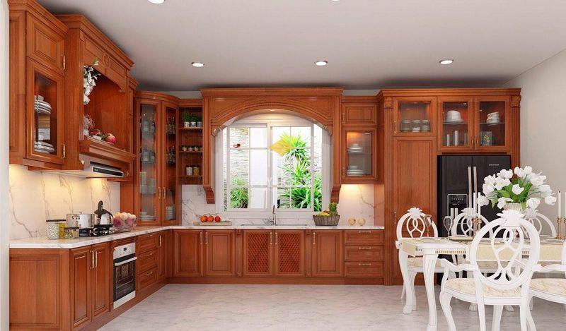 Tủ bếp gỗ tự nhiên loại nào tốt - Mẫu tủ bếp 08