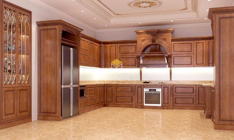 Tủ bếp gỗ tự nhiên loại nào tốt - Mẫu tủ bếp gỗ óc chó 05