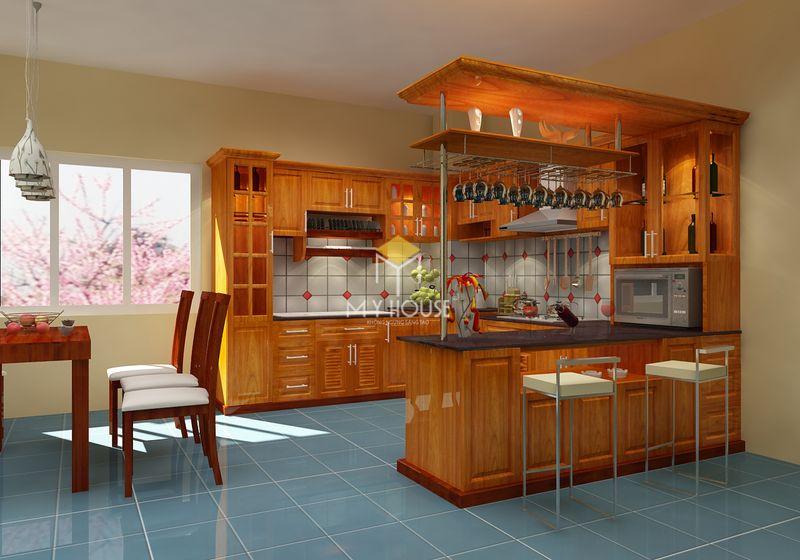 Tủ bếp gỗ tự nhiên loại nào tốt - Mẫu tủ bếp 10