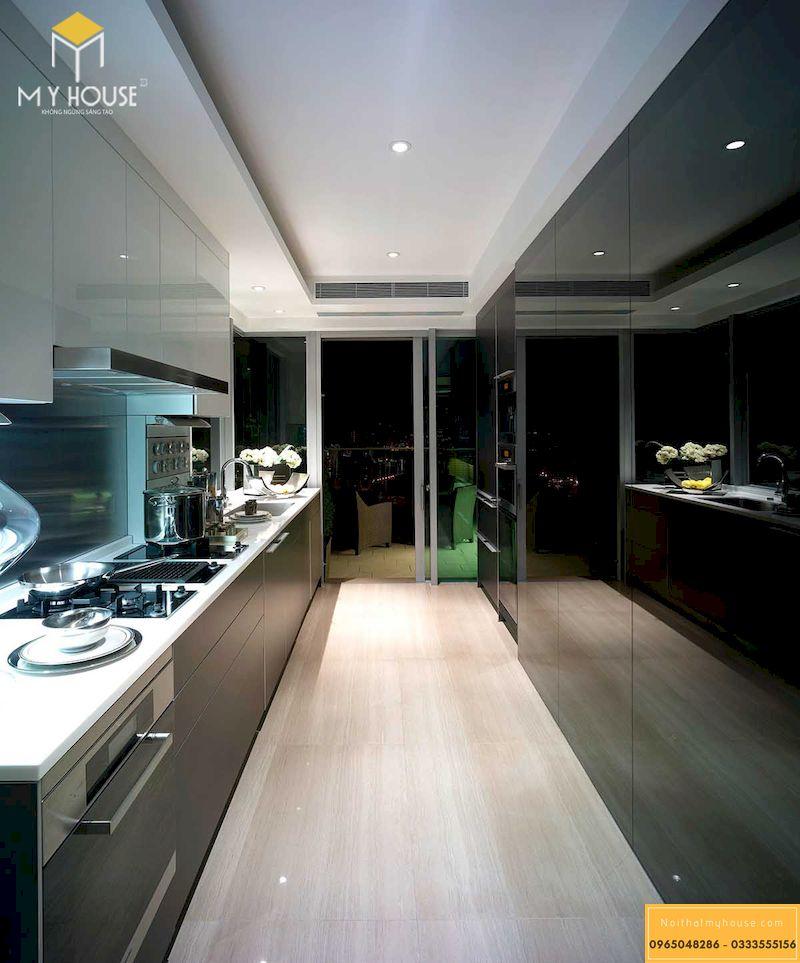 Mẫu tủ bếp màu đen - Mẫu 03