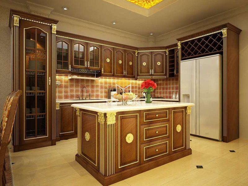 Tủ bếp gỗ tự nhiên - Mẫu 21