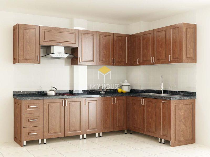 Tủ bếp gỗ tự nhiên - Mẫu 22