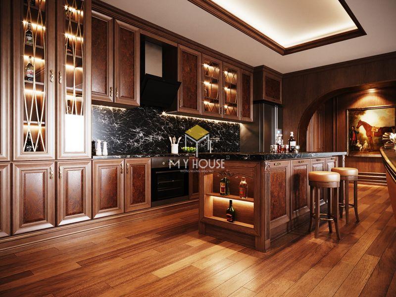 Tủ bếp nên dùng gỗ công nghiệp hay gỗ tự nhiên - Mẫu 08