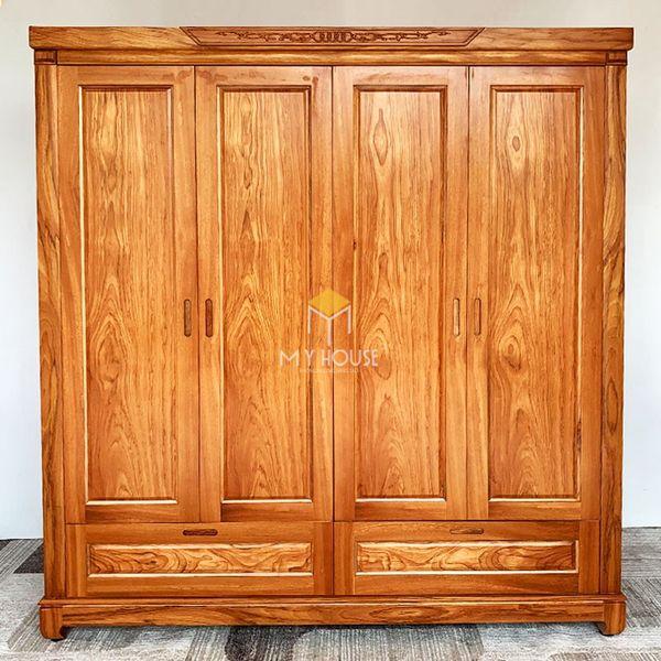 Tủ quần áo gỗ gõ đỏ hiện đại - Mẫu 10