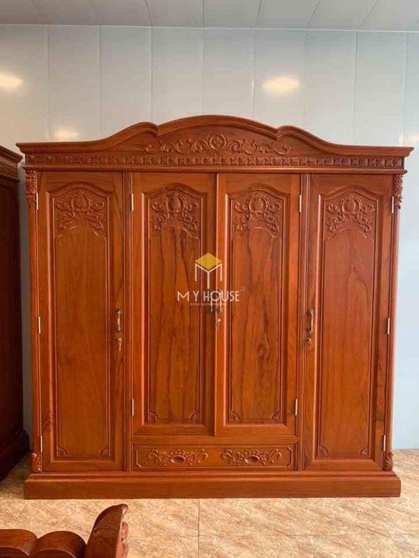Tủ quần áo gỗ gõ đỏ hiện đại - Mẫu 08