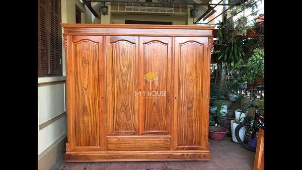 Tủ quần áo gỗ gõ đỏ hiện đại - Mẫu 02
