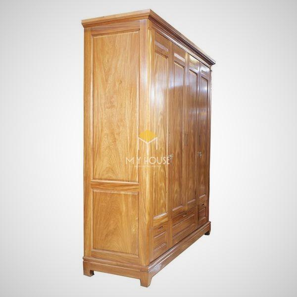 Tủ quần áo gỗ gõ đỏ hiện đại - Mẫu 05