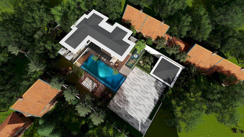 Mẫu biệt thự nhà vườn có bể bơi - Mẫu 02
