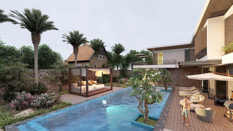 Mẫu biệt thự nhà vườn có bể bơi - Mẫu 04