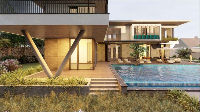 Mẫu biệt thự nhà vườn có bể bơi - Mẫu 08