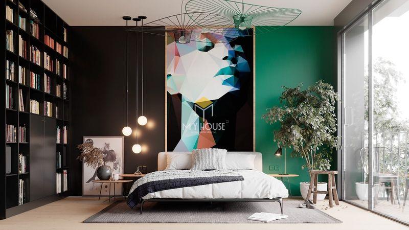 Phòng ngủ đẹp cho nữ màu đen - Mẫu 01