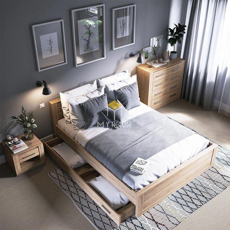 Phòng ngủ đẹp cho nữ màu đen - Mẫu 13