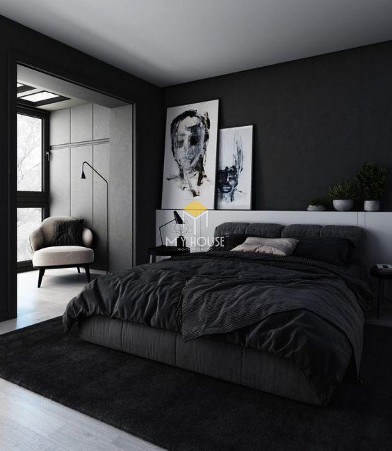 Phòng ngủ đẹp cho nữ màu đen - Mẫu 14