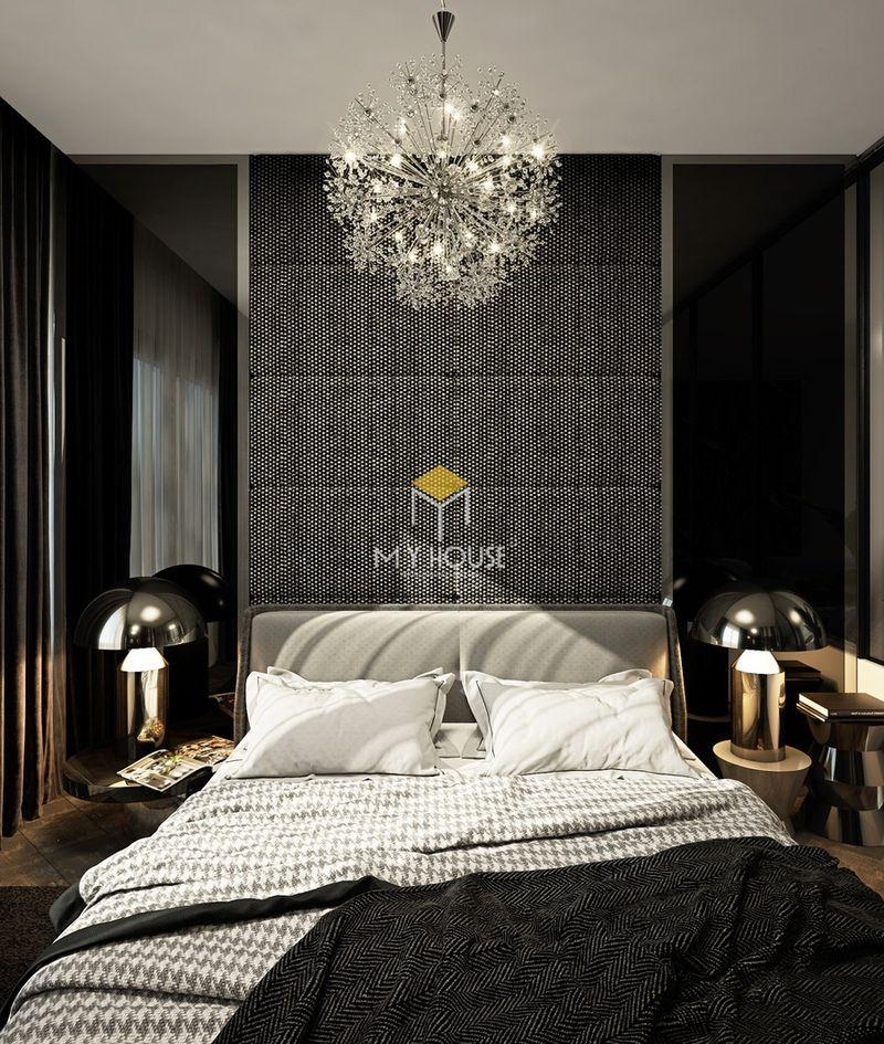 Phòng ngủ đẹp cho nữ màu đen - Mẫu 15