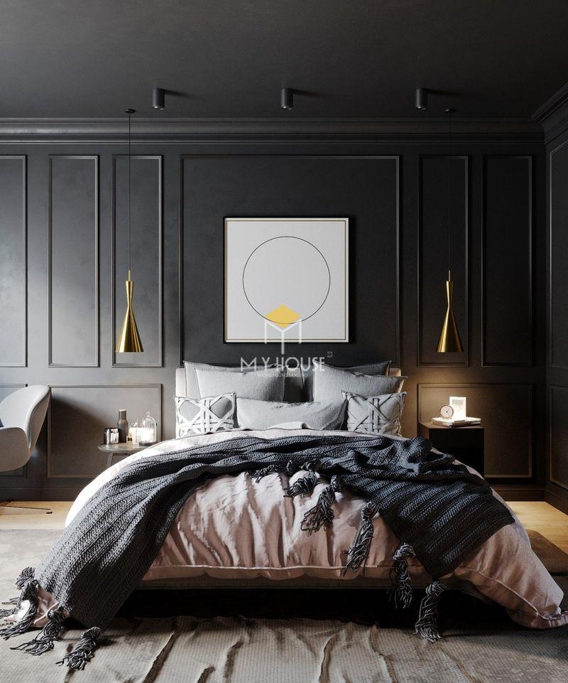 Phòng ngủ đẹp cho nữ màu đen - Mẫu 17