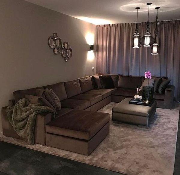 Mẫu sofa nỉ màu nâu - 07