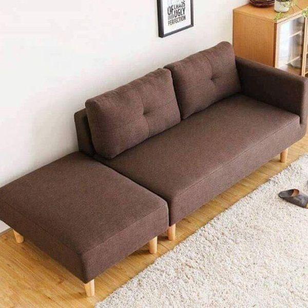Mẫu sofa nỉ màu nâu - 08